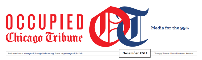 The header of the first issue of The Occupied Chicago Tribune (design by Akemi Hong)
