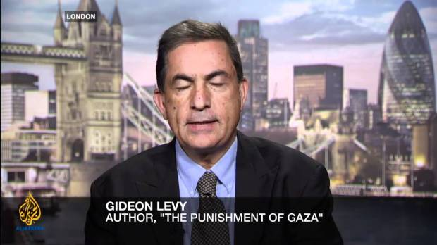 Gidon Levy durante un'apparizione ad Al JAzeera (photo via @Youtube)
