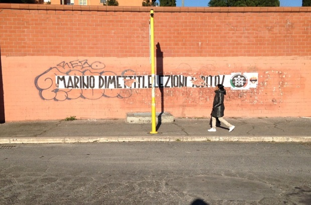 Casa Pound (one of Italy's populist right wing parties) writings in Tor Sapienza, Rome  (Foto by the author)