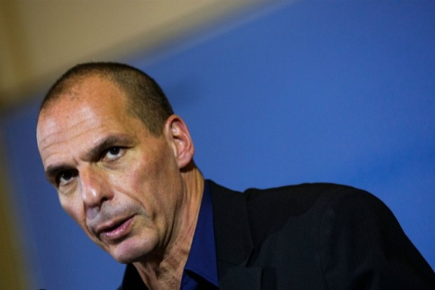 Il ministro delle Finanze greco Varoufakis in visita a Berlino, 5 febbraio 2015. (Carsten Koall / Getty Images)