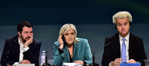 (LtoR) Italian Lega Nord (Northern League) Secretary, Matteo Salvini, French far-right Front National (FN) party president Marine Le Pen and Dutch far-right Freedom Party leader Geert Wilders attend a press conference at the end of  the first ENF (Europe of Nations and Freedom) congress in Milan on January 29, 2016.  / AFP / GIUSEPPE CACACE        (Photo credit should read GIUSEPPE CACACE/AFP/Getty Images)
