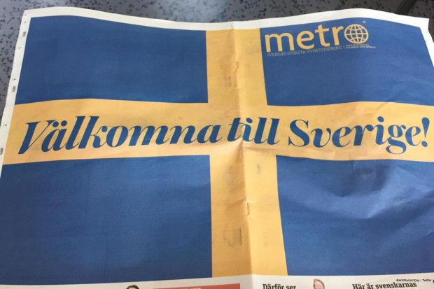 Refugee's welcome on the front page of free newspaper Metro in Sweden